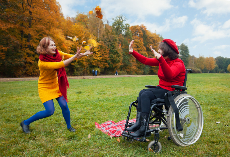 Autumn view. Two people playing, one of them sitting in a wheelchair