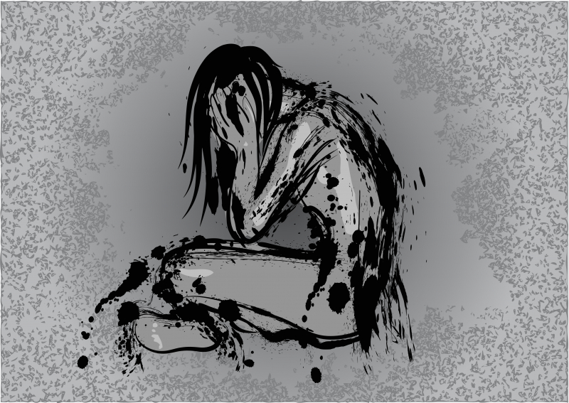 A black and white picture conveying anxiety and depression.